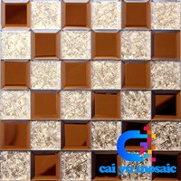 crystal glass tile wall mosaic brown white hote deco art