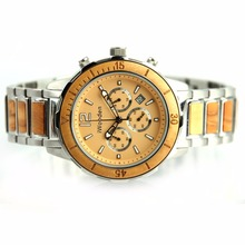 Luxury Waterproof Chronograph Quartz Wrist Watch Men Stainless Steel Watch Wood Metal