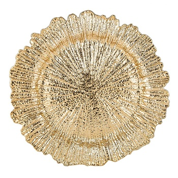 High Quality Plastic Gold Reef Charger Plate for Wedding Table Decorative