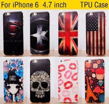 For iphone 6 4.7 inch Hot Painted Gel Case Back Cover Shell Cool Captain America Skull Flag Phone Cases Covers for iphone6
