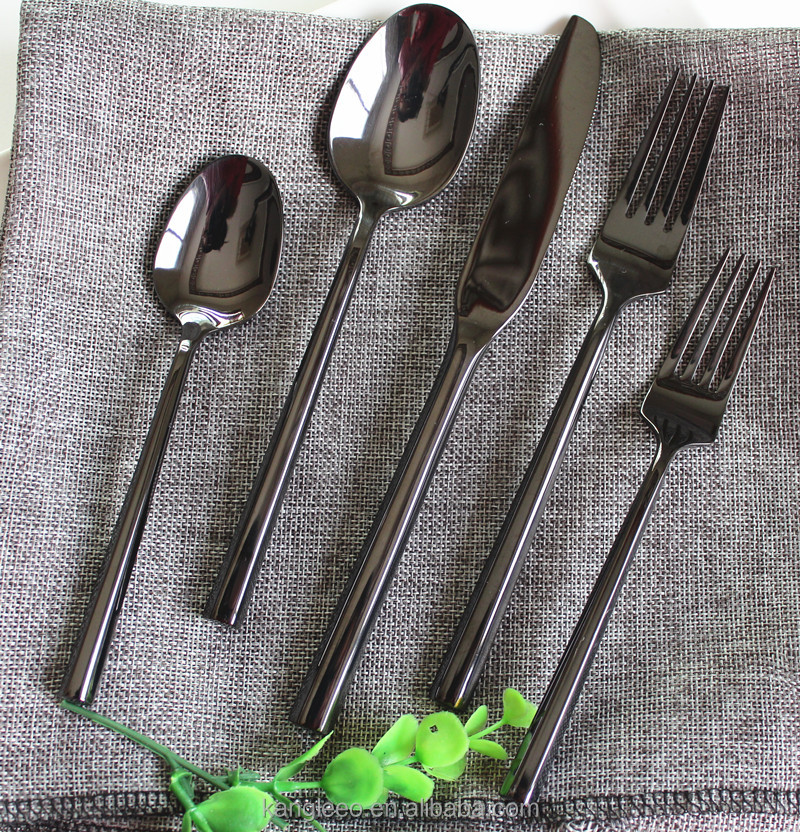 black cutlery, matte black wedding cutlery set of 72pcs, stainless steel bulk gold plated flatware set wholesale