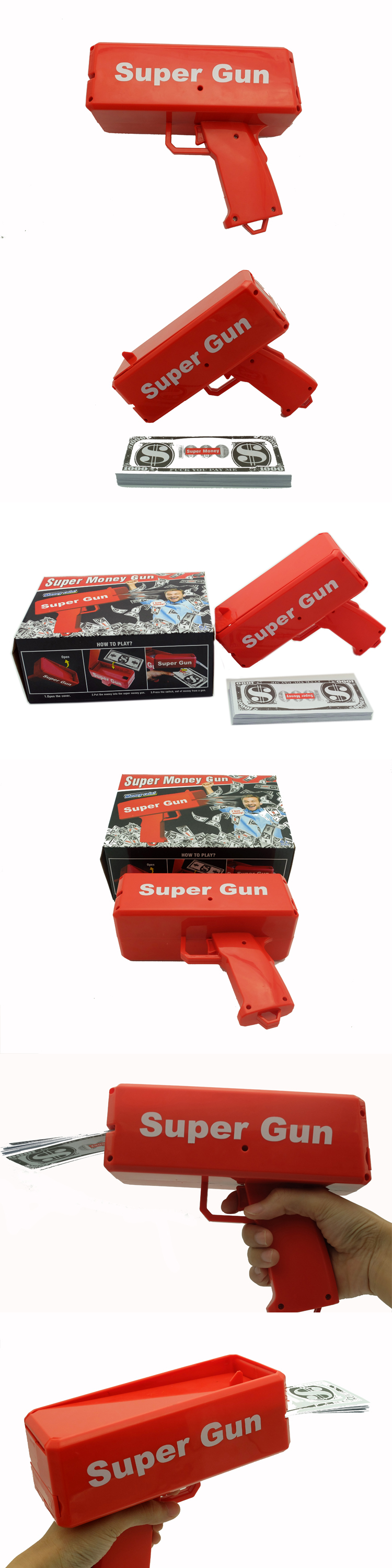 US Dollar Money Spray Gun Toy Celebration Money Gun Included 50 Props Money Cash