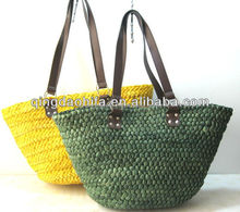 2014 trendy Natural Straw Bag leather handle