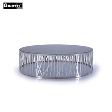 Contemporary stainless steel round glass top coffee table