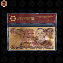 WR Colored Thailand Gold Banknote 500 Baht Red Certificate 24k Gold Foil Plated /w Sleeve