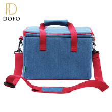 Denim style waterproof shoulder strap commercial fitness lunch cooler bag with durable hard liner