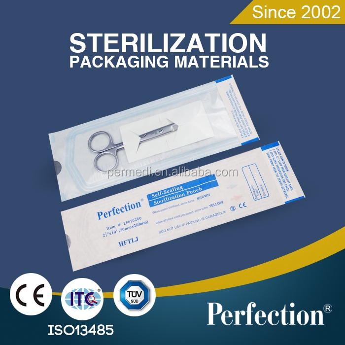 Packaging material dental disposable self-sealing pouces