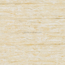 Light beige travertine 600x600 polished glazed porcelain tile marble look serie floor tile