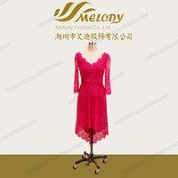 Elegant full lace prom women front short back long dark fuchsia dress