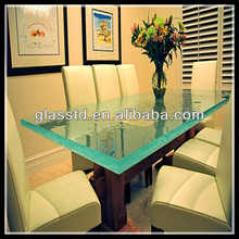 45mm crystallized rectangular glass top dining tables