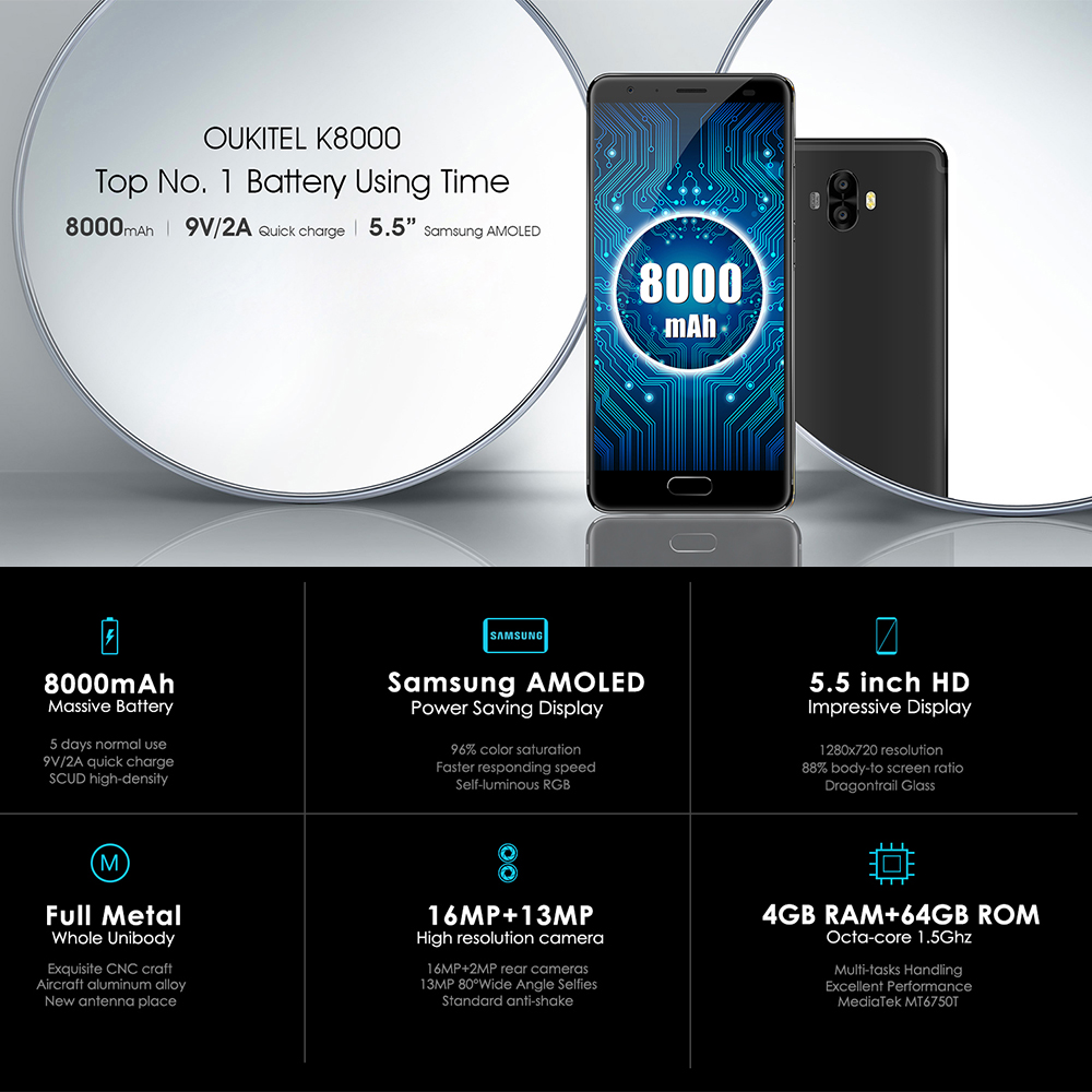 "Oukitel K8000 5.5"" HD MTK6750T 4G 64G Octa Core Dual Rear Cameras 8000mAh Fast Charge Fingerprint Massive Battery Smartphone"