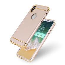 Ultra slim 3 in 1 matte hard pc electroplating bumper cell phone cover case for iPhone X