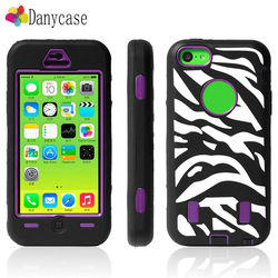 3in1 new products cell phonecase zebra hybrid silicone+plastic phone case for iphone5c made in china anti-shock case