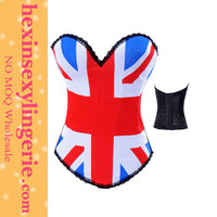 Hot sale tight american flag girl hexin sexy black red bule corset