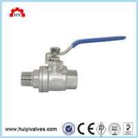 Professional SS316 pn16 full bore carbon steel 2 pc 3 way hydraulic 1 8 ball valve