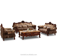 Antique Trim Wood Traditional Sofa Loveseat Chair Living Room Home Furniture