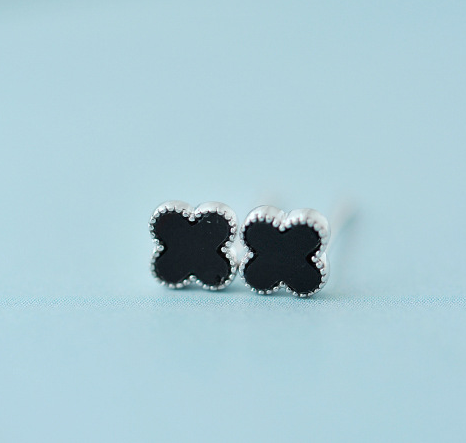 925 Sterling Silver Black Onyx Four Leaf Clover Earrings Stud Earrings