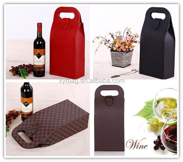 Fashion Two Bottle Wine Leather Box With Zipper