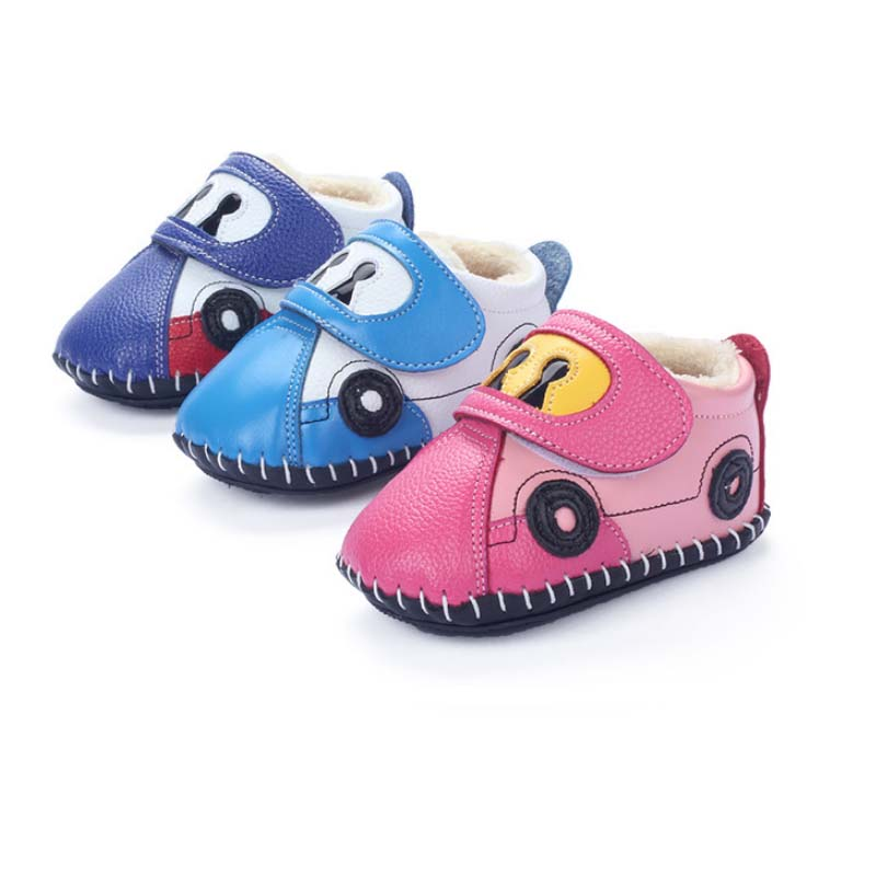 TSW3355 Rubber sole waterproof genuine leather handmade baby toddler shoes
