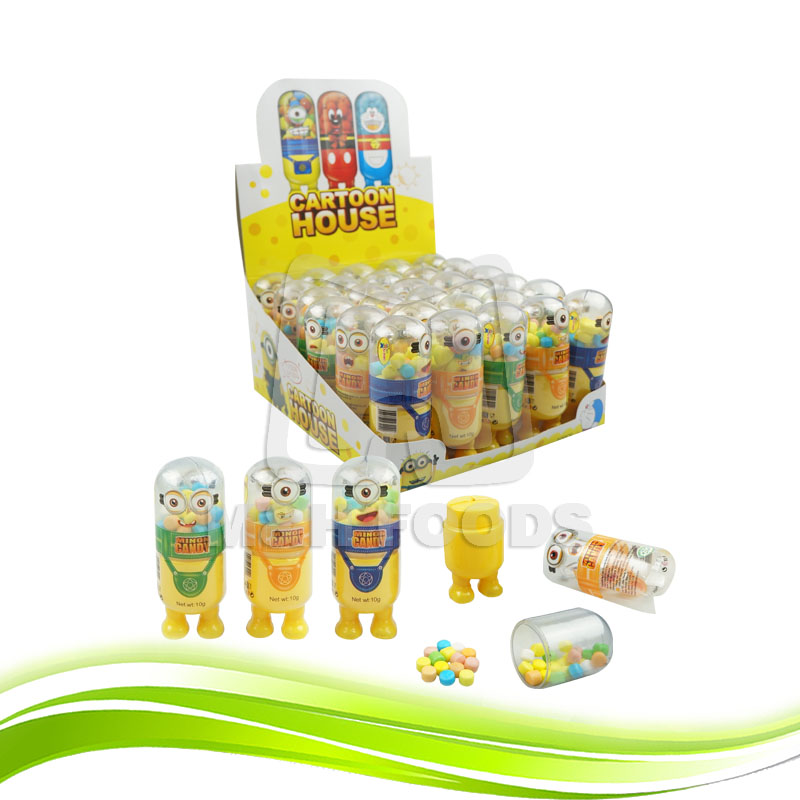 Cartoon Shaped Bottle Candy Toys with Mix Fruit Pressed Candy For Kid