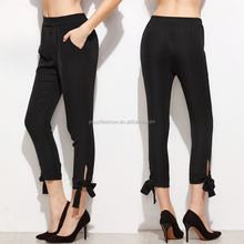 Black bow tie women fashion pencil pants with crop skinny ladies trouser cutting for ladies new fashion trousers