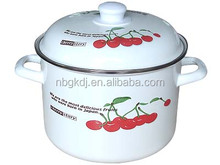enamel high Soup & Stock Pots with cherry and dandelion decals