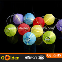 Solar Powered String Five Bright Colours Chinese Lucky Light Lantern of 10 Lanterns Chain