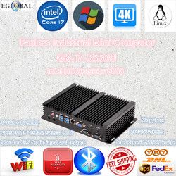 Fanless Barebone Mini PC Embedded Industrial Computer Core i7 5550U Rugged ITX Case Win10 Dual LAN