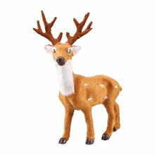Mini Simulation Reindeer Christmas Ornament Plastic + Plush Christmas Decor Kids Toy Deer Christmas Tree Decorations