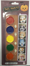 6 colors football fans face paint with brush for European Cup and World Cup