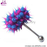 14G Blue Purple Vibrating Tongue Ring Barbell Capsule Body Jewelry