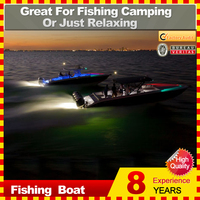 2 man recreational fishing boat with LED lights