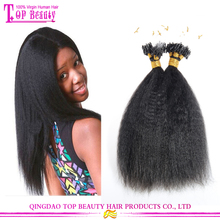 7A Grade Brazilian Hair 14 inch Kinky Straight Micro Ring Hair Extensions For Black women
