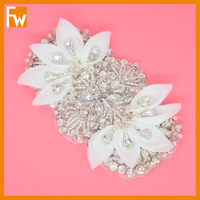 Hot selling iron on rhinestone flower dance appliques motif for clothing kids