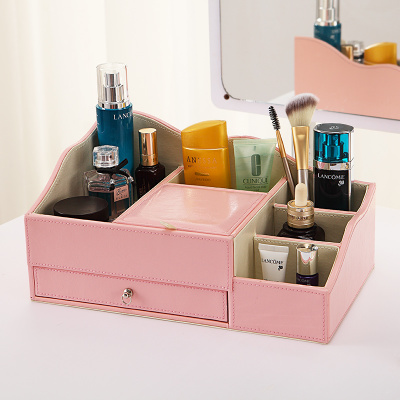 Professional custom printing makeup kits box PU Leather cosmetic storage case with girl mirror