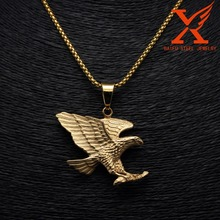 Male Jewelry Eagle Wing Pendant Exaggerated Retro 14K Gold Plating For 316L Stainless Steel