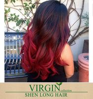 8a Grade can be dyed virgin brazilian hair bundles body wave burgundy two tone ombre black and red hair weaves