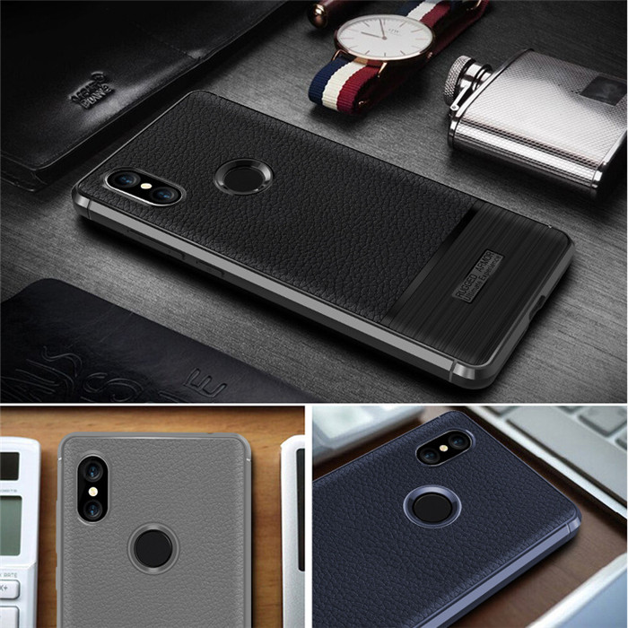 2018 Newest leather design Litchi TPU phone case For Redmi <strong>Y2</strong> S2