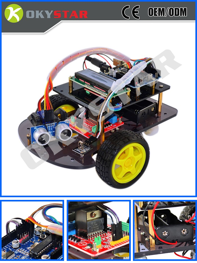 Ultrasonic obstacle avoidance intelligent smart Chassis car kit robot for Arduino