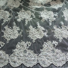Wedding dress french lace fabric with heavy cording 2016