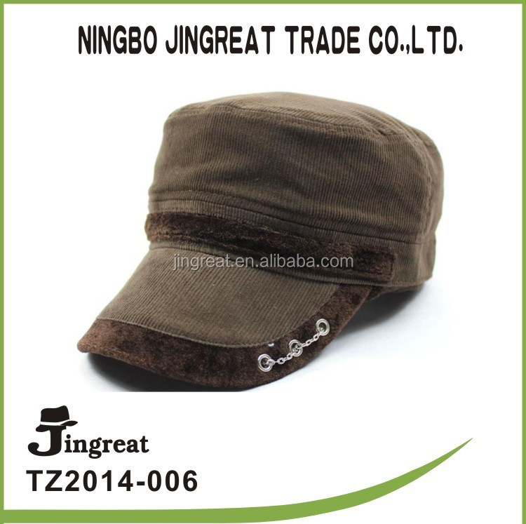 2015 top fashion handsome mens fashion warm hat army cap rivet design military cap and hat