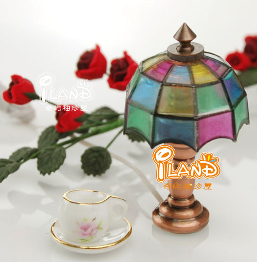 Dollhouse miniature electric lamp tiffany lamp colorful 12 for 12 volt table lamps