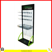 2016 Hot Sale Floor Standing Supermarket Wire Display Rack Hanging Shelf With Basket
