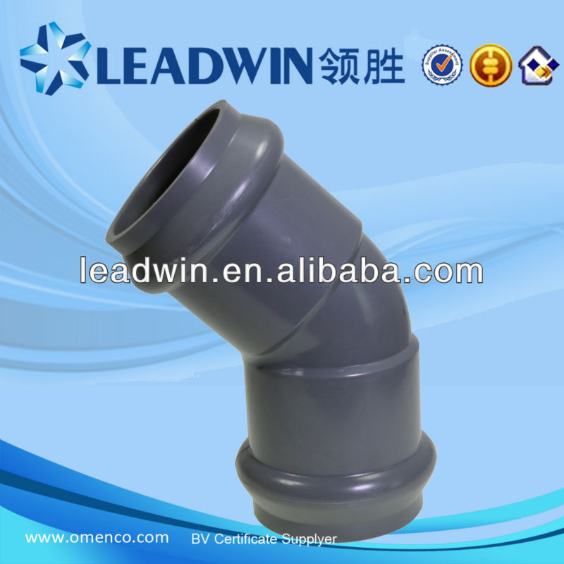 metric pvc pipe fittings with rubber joint