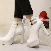 d72283h 2016 new women high heel ankle boots PU leather black snow boots