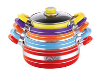 7Pcs italian cookware with nonstick coating inside and high temperature paint outside