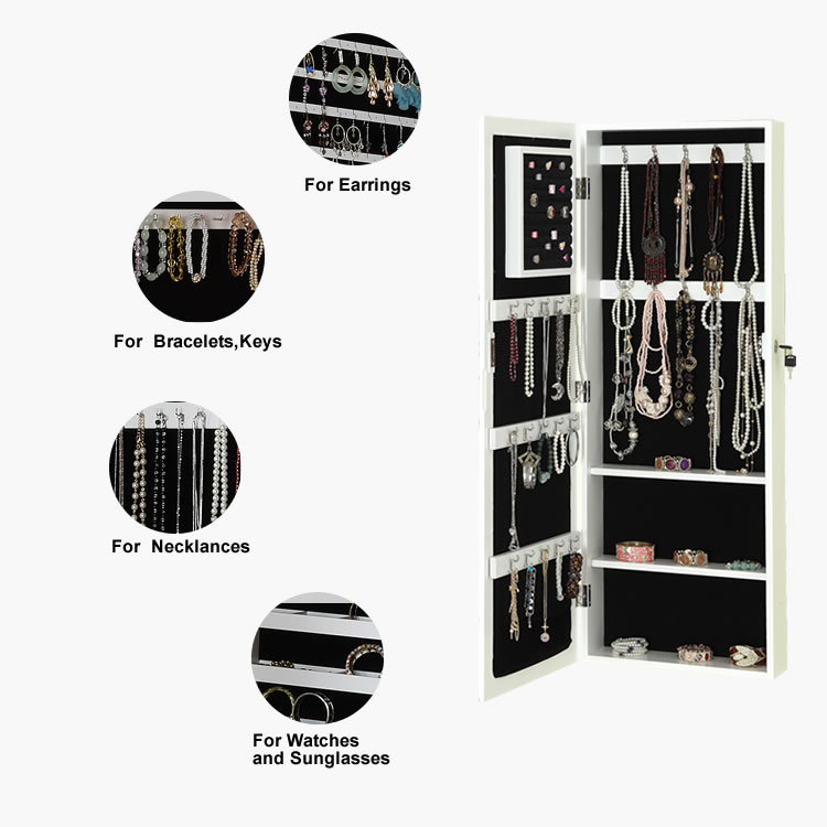 black wall-mounted dressing mirror, jewelry storage armoire