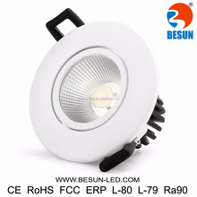 BESUN patent design new recessed cob led downlight IP54 free soldering dimmable downlight led no flickering with 5years warranty