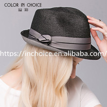 Straw fedora hats with tape decoration