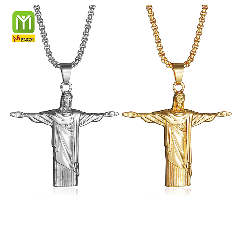 Catholic 22k Gold Jewellery dubai Jewelry Rosary Jesus Pendant Necklace